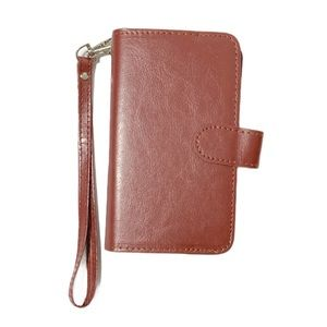 Phone Case Wallet IPhone XS Faux Leather Magnetic Card Slots Wrist Handle